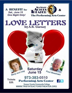 saturday june 15 at 800pm tri state actors theater presents love letters by ar gurney